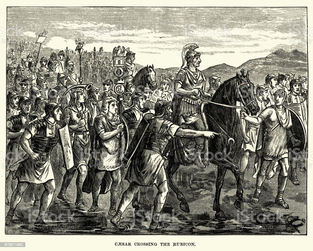 Julius Caesar leading his army across the Rubicon vector art illustration