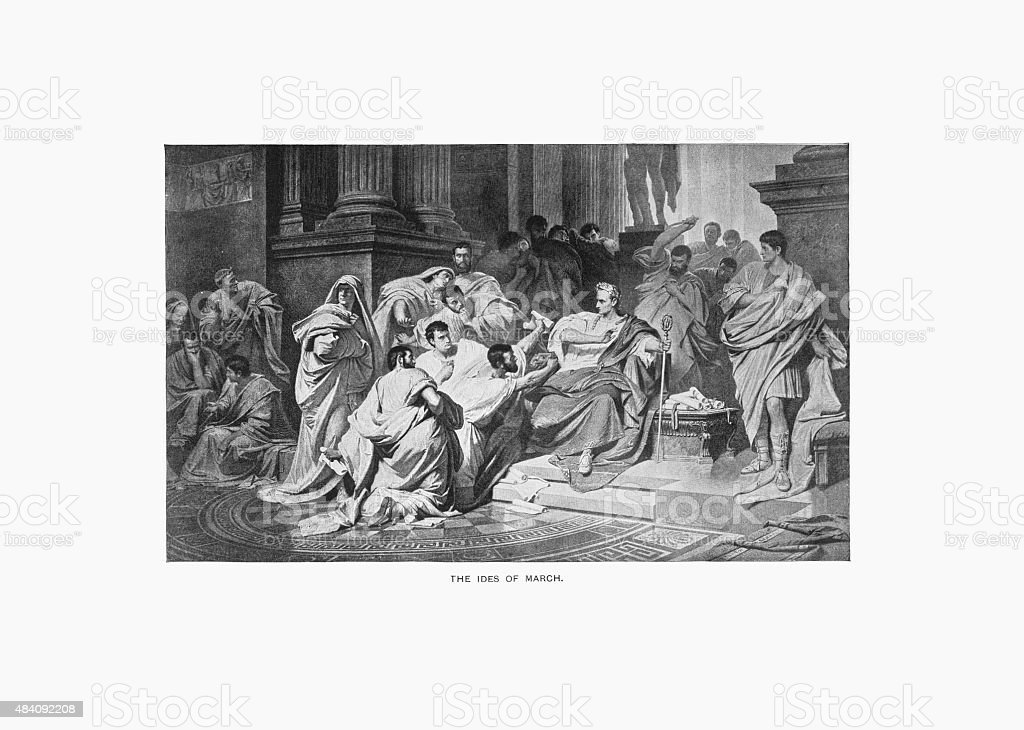 Julius Caesar, The Ides of March Engraving vector art illustration