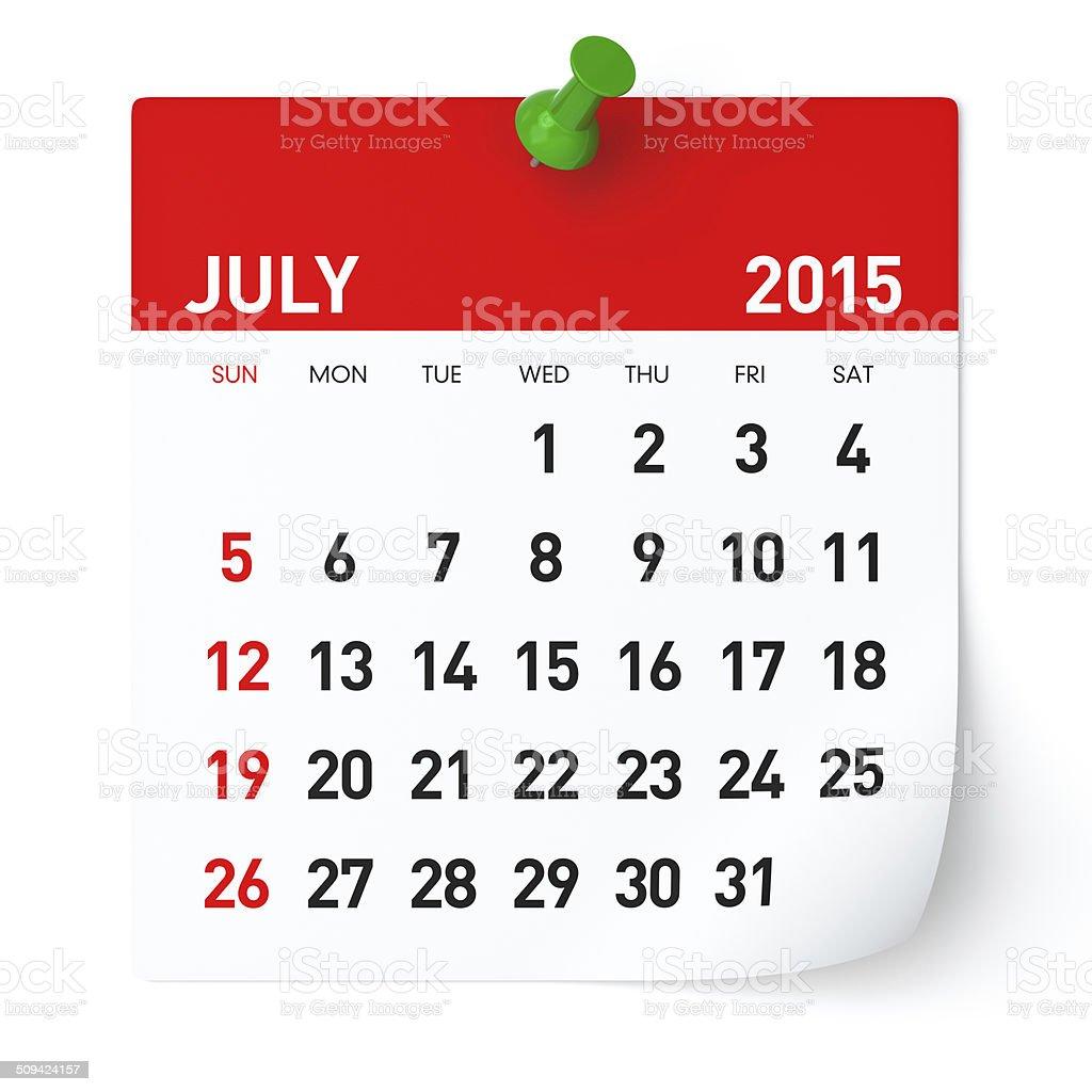 July 2015 - Calendar vector art illustration