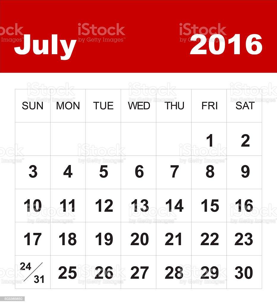 July 2016 calendar vector art illustration
