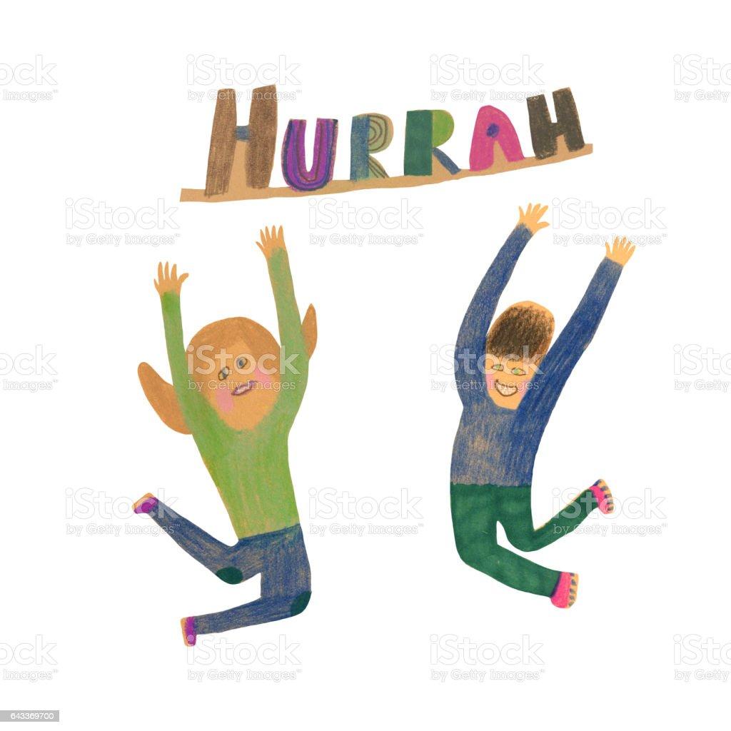Jump of joy vector art illustration