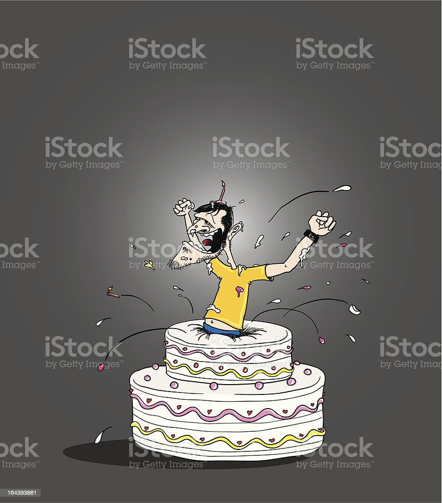 jump out cake vector art illustration