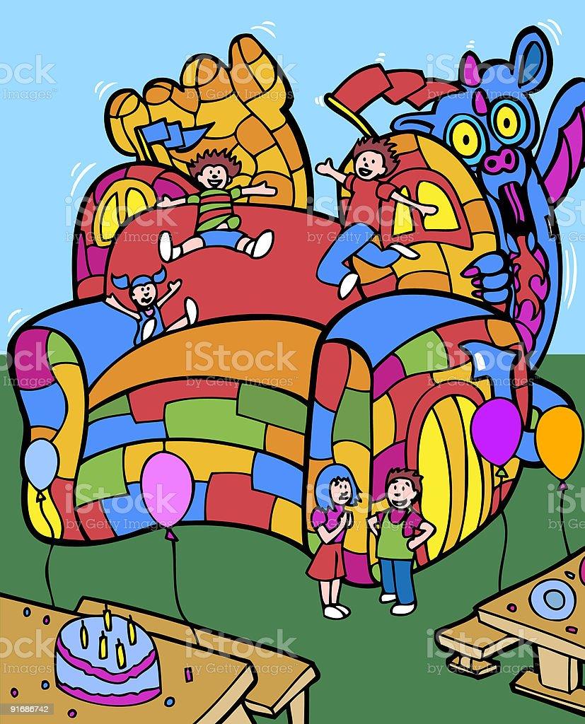 Jumping dragon castle royalty-free stock vector art