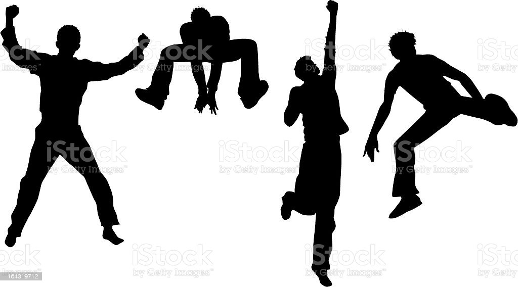 jumping male silhouettes vector art illustration