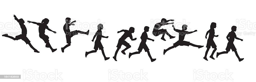 jumping running children vector art illustration