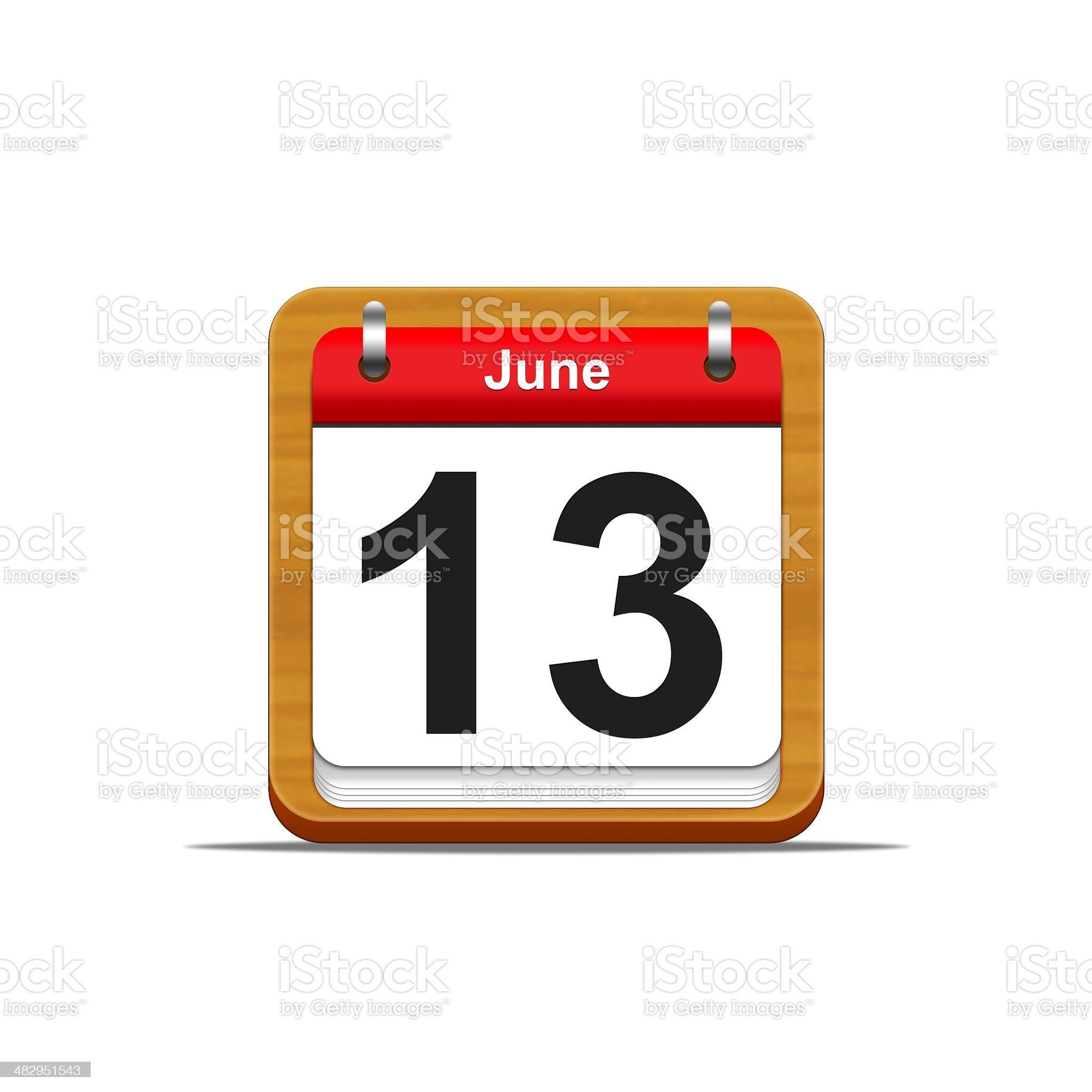 June 13. royalty-free stock vector art