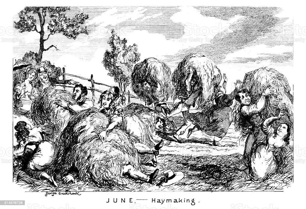 June - Haymaking vector art illustration