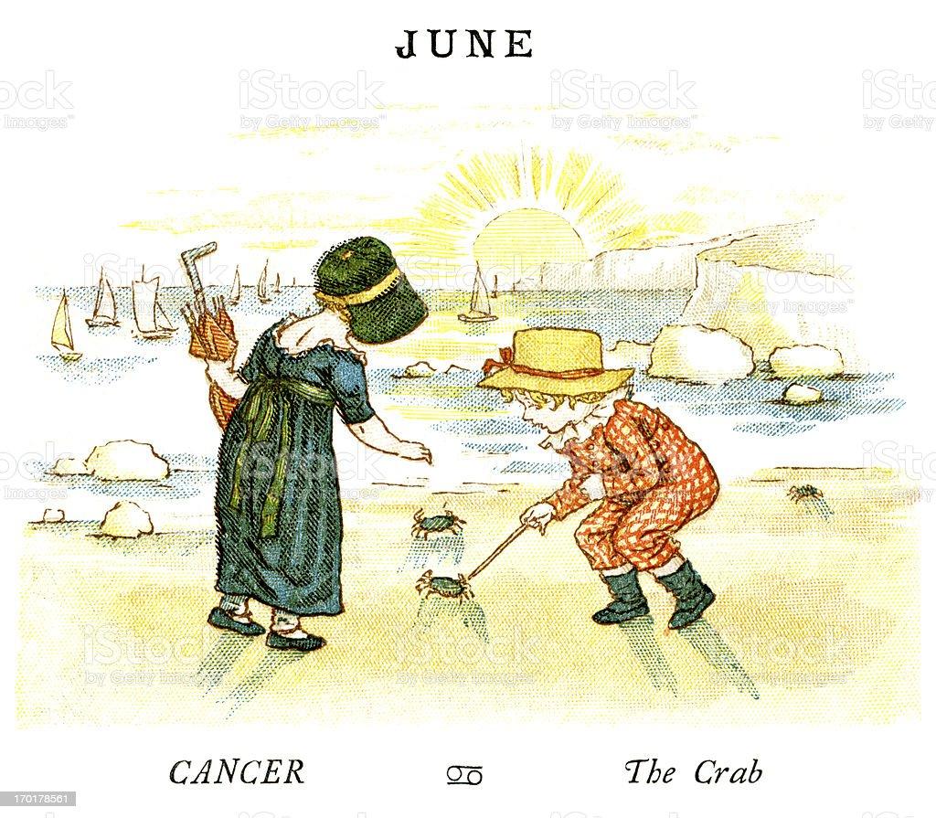 June - Kate Greenaway, 1884 vector art illustration