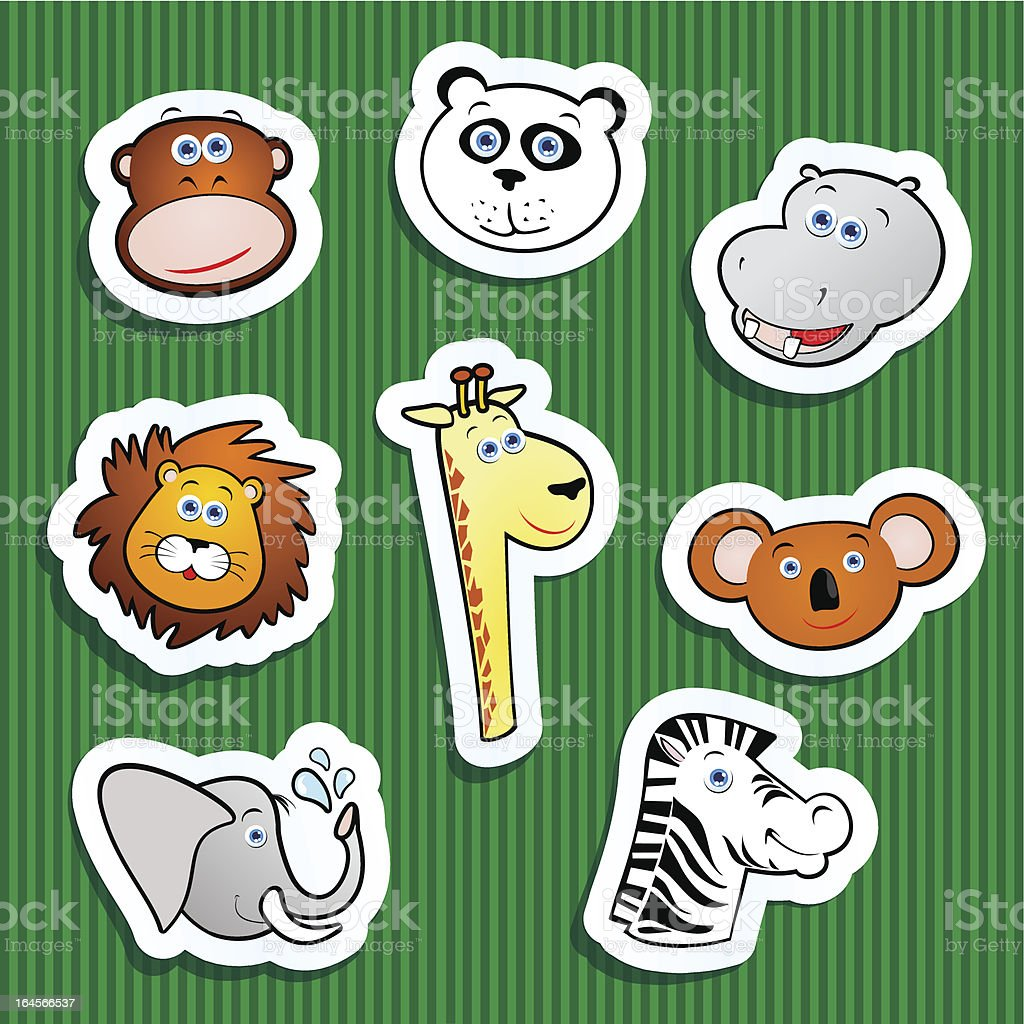 Jungle funny stickers royalty-free stock vector art