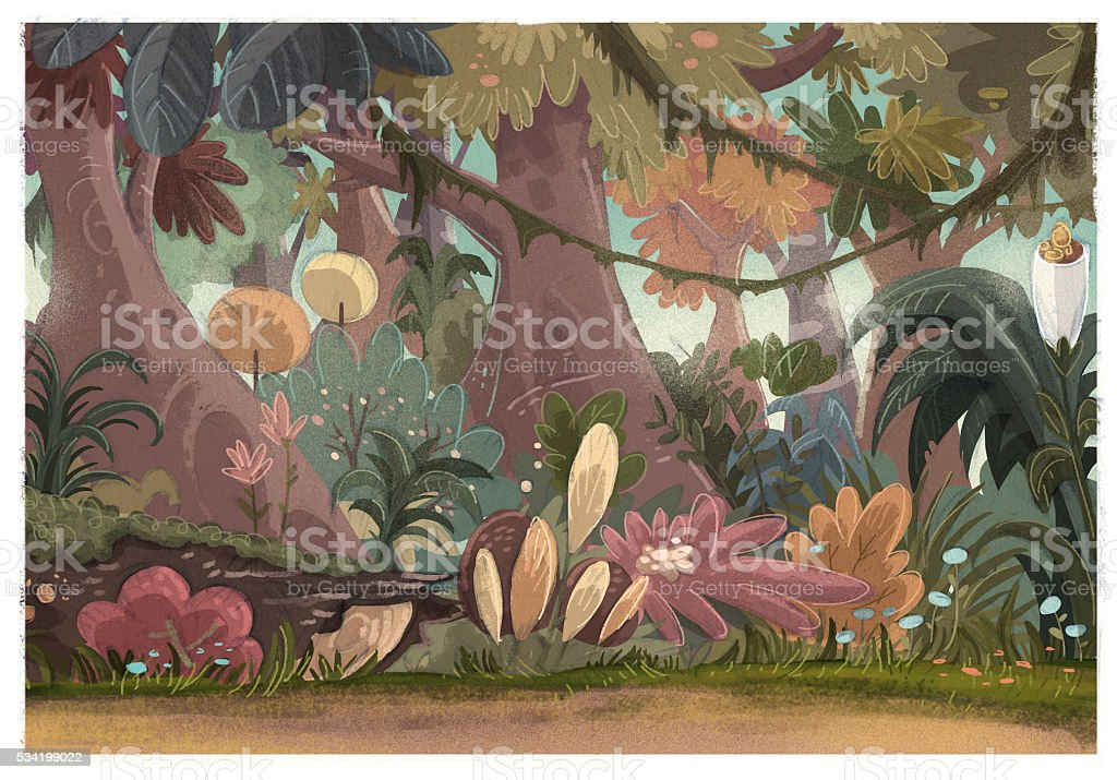 fondo de naturaleza de selva vector art illustration