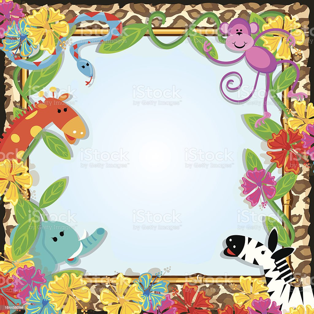 Jungle Zoo Party Frame royalty-free stock vector art