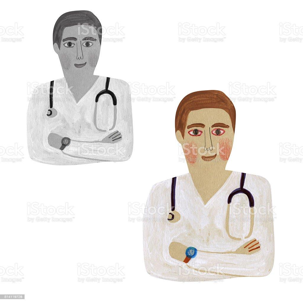 Junior Doctor vector art illustration