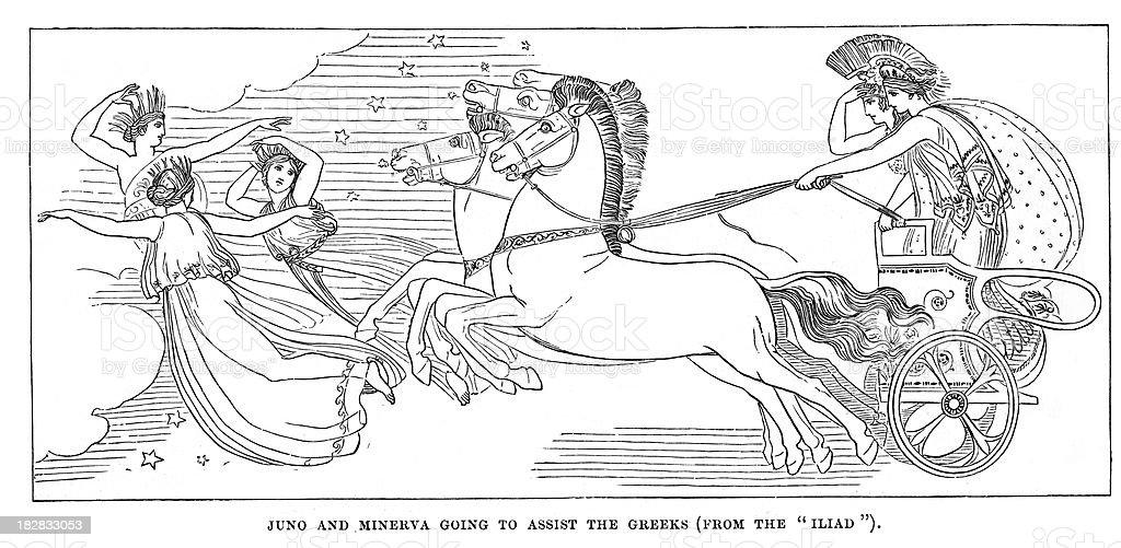 Juno and Minerva vector art illustration