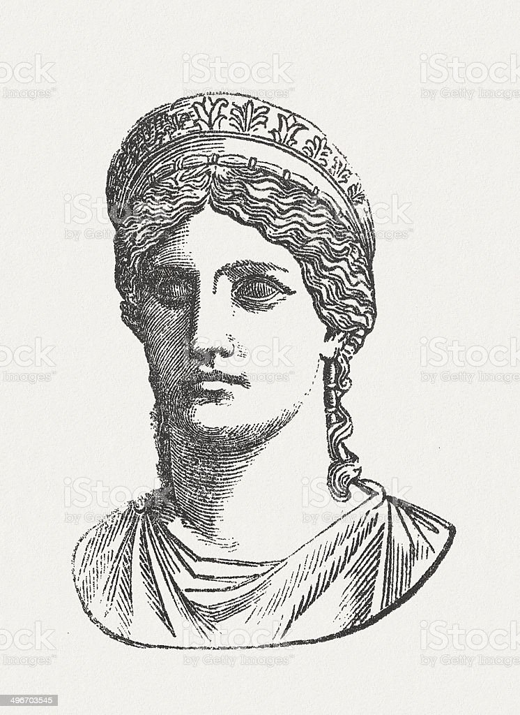 Juno Ludovisi, Roman goddess, Palazzo Altemps, Rome, published in 1881 royalty-free stock vector art