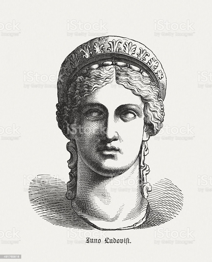 Juno Ludovisi - Roman goddess, published in 1878 vector art illustration