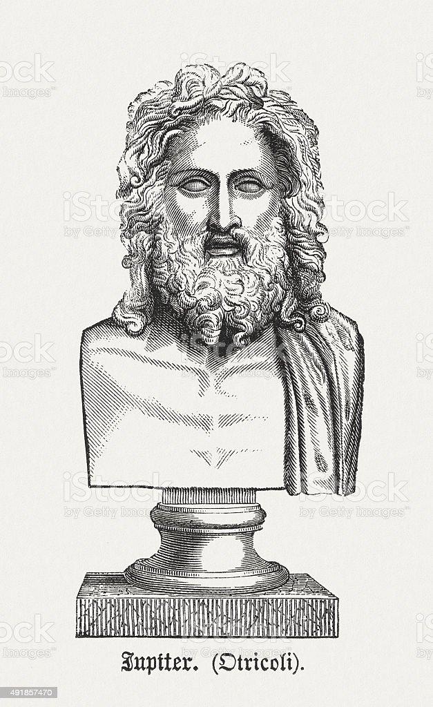 Jupiter, ancient bust, published in 1878 vector art illustration