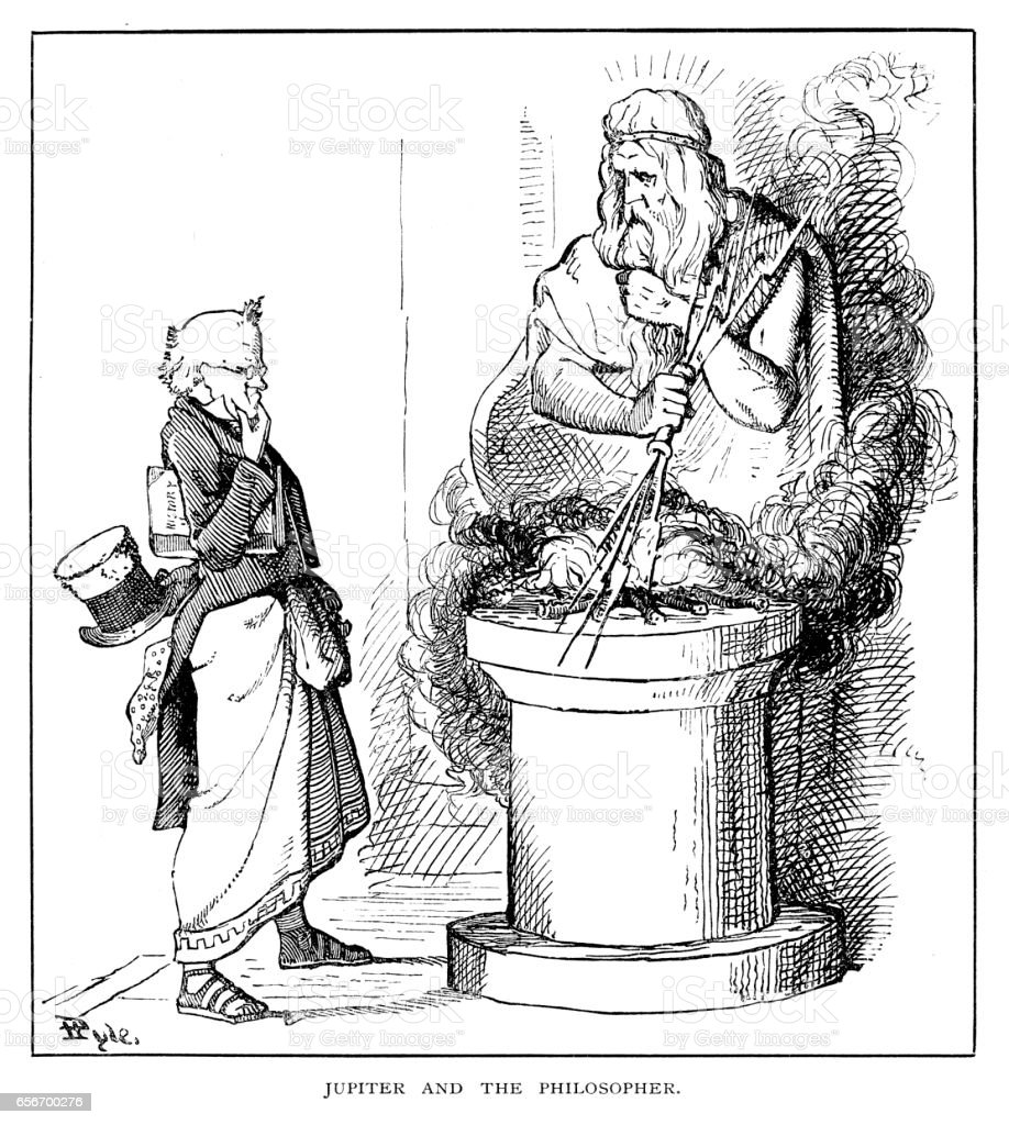 Jupiter and the philosopher vector art illustration