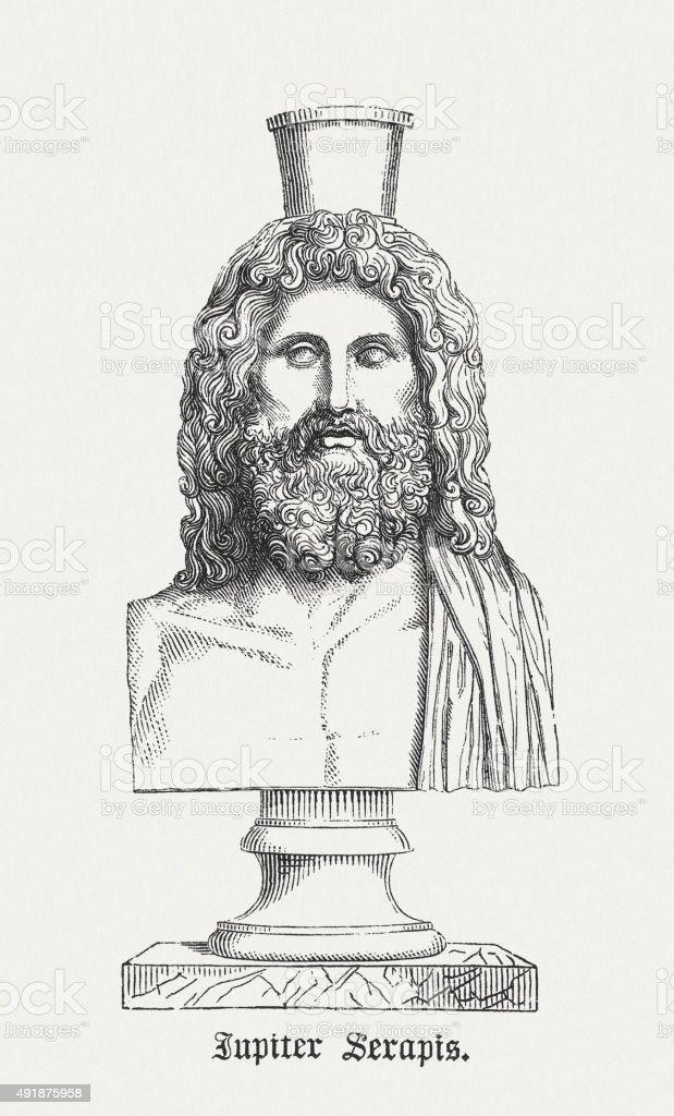 Jupiter Serapis, ancient bust, published in 1878 vector art illustration