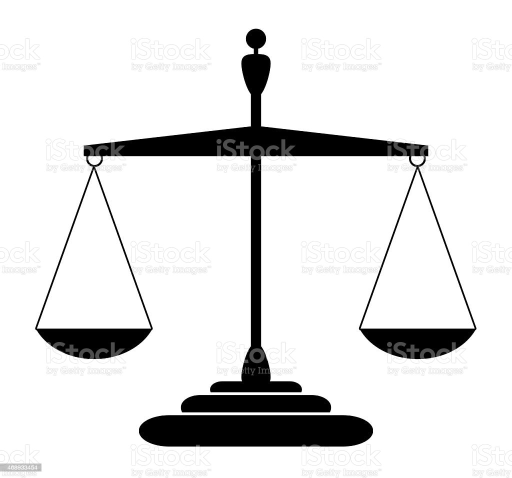 Justice scales silhouette - balanced, isolated vector art illustration