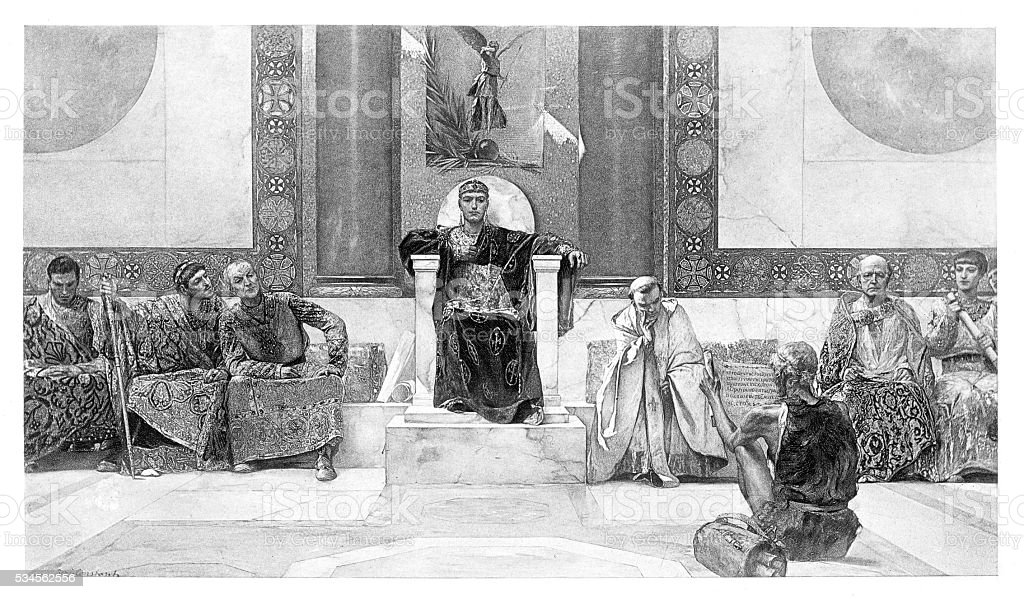 Justinian and his council engraving 1894 vector art illustration