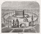 Kaaba in Mecca, wood engraving, published in 1882