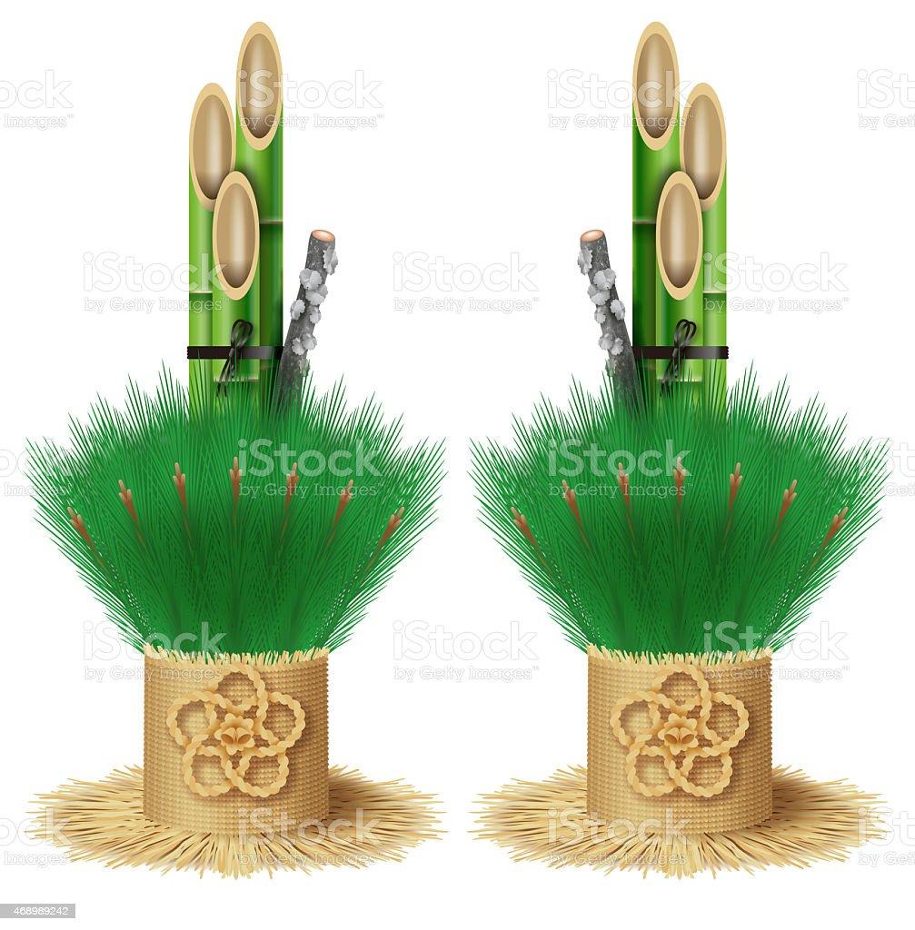 Kadomatsum, Japanese New year's pine decoration. vector art illustration