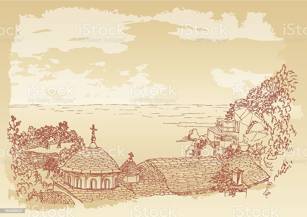 Kafsokalyvia skete in mount Athos vector art illustration