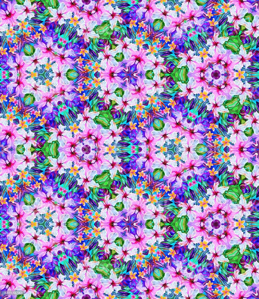 kaleidoscope with flowers. seamless pattern vector art illustration