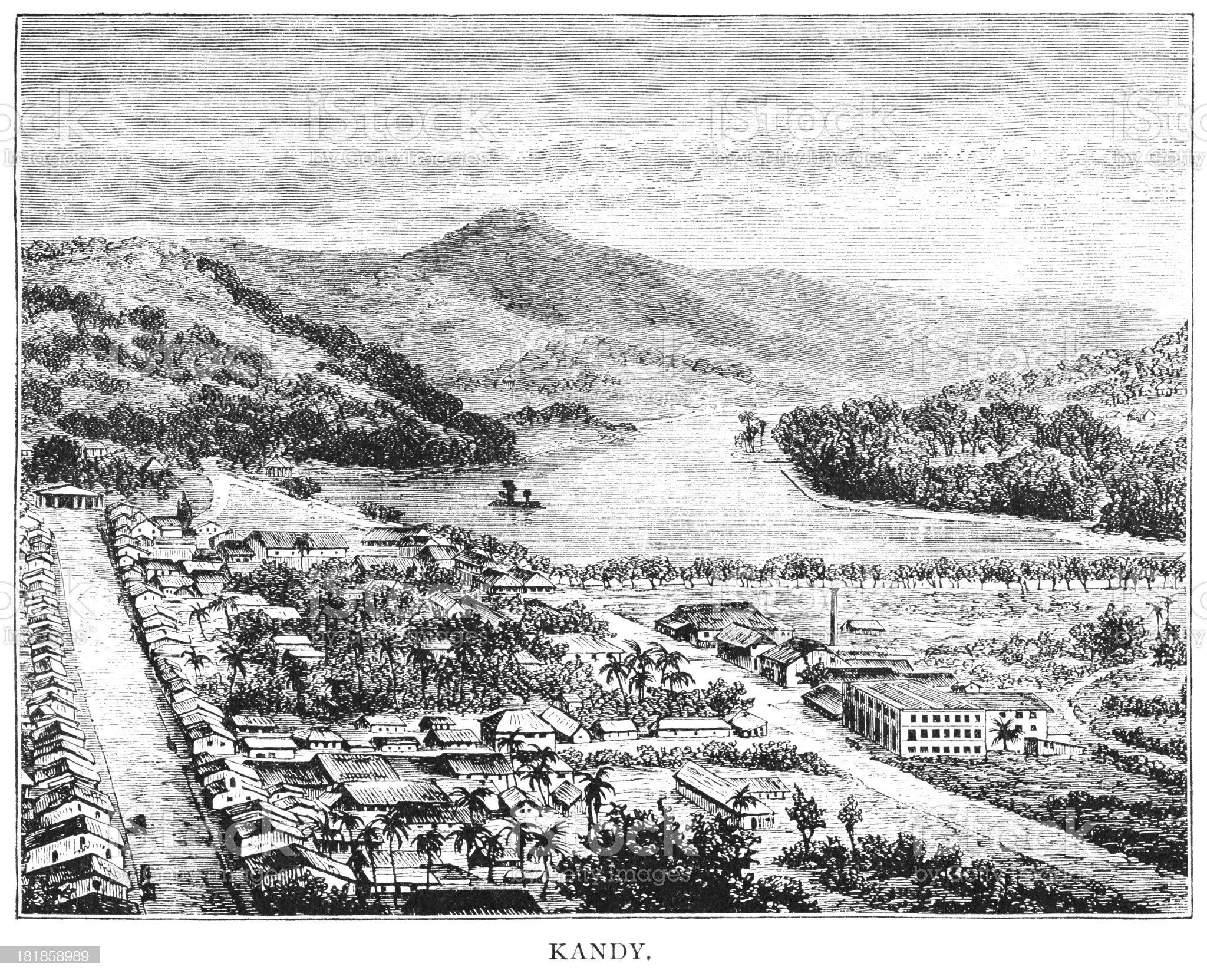 Kandy, Ceylon - Victorian engraving royalty-free stock vector art