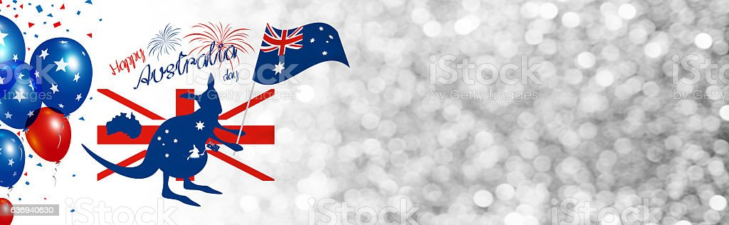 Kangaroo holding australia flag with firework on silver bokeh vector art illustration