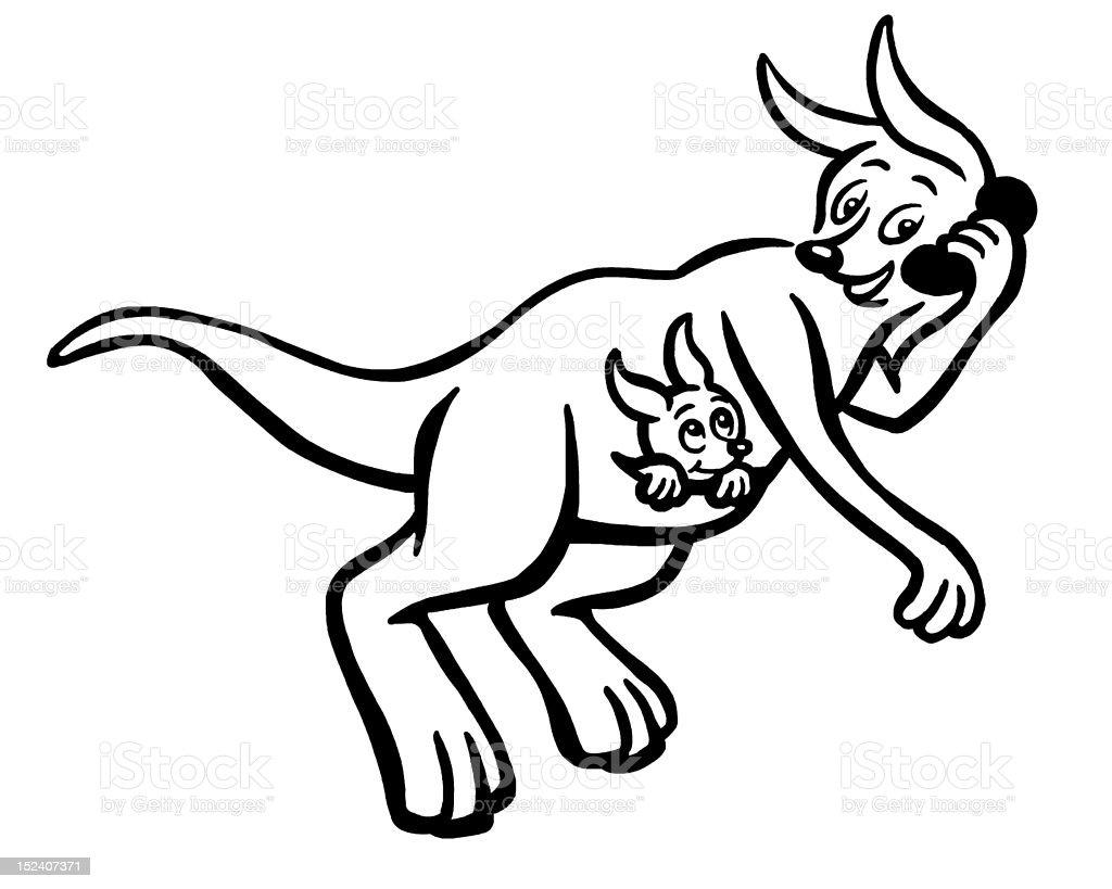 Kangroo On Telephone vector art illustration