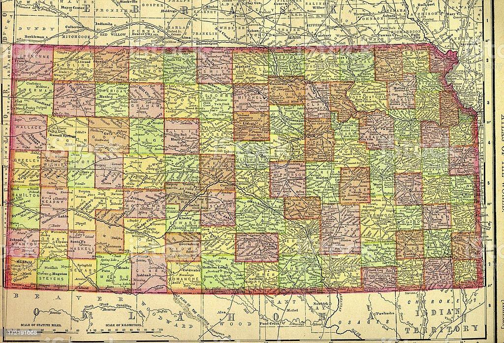 Kansas Old Map vector art illustration