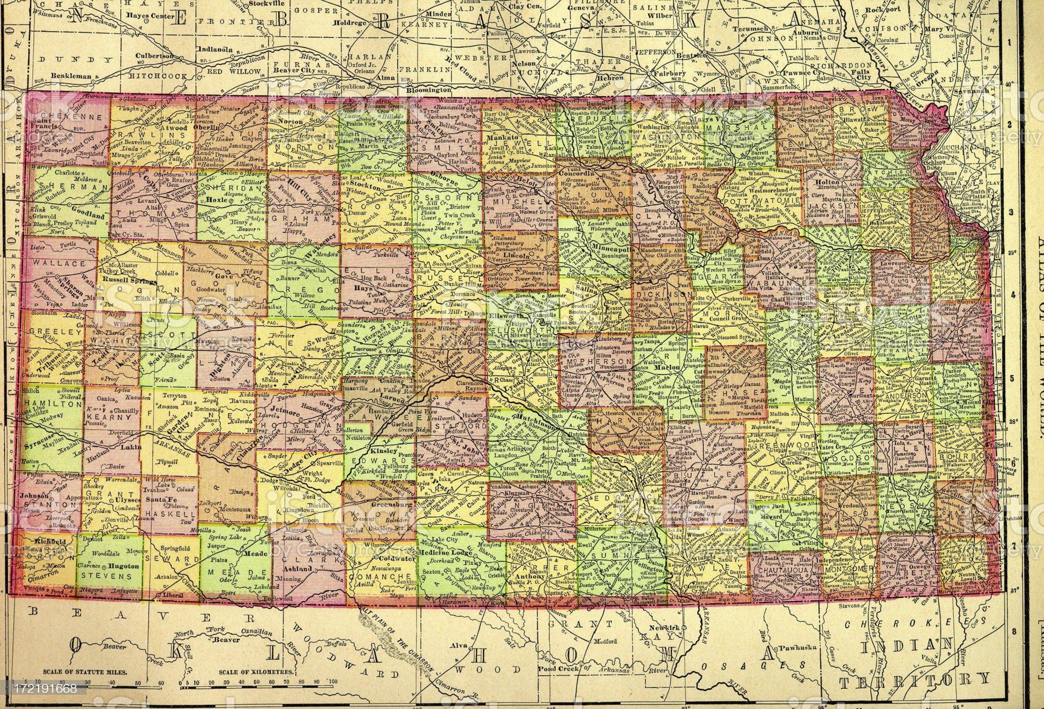 Kansas Old Map royalty-free stock vector art