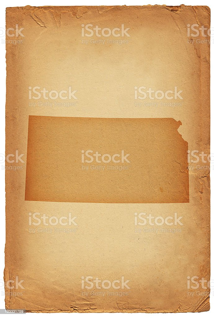 Kansas state map on old paper Background royalty-free stock vector art