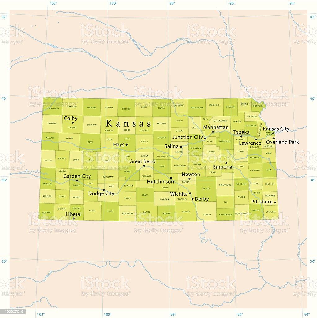 Kansas Vector Map vector art illustration