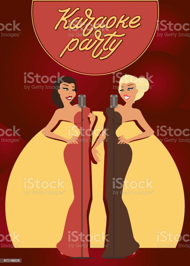 Karaoke party. Female musicians with microphones. Professional singers and dancers. vector art illustration
