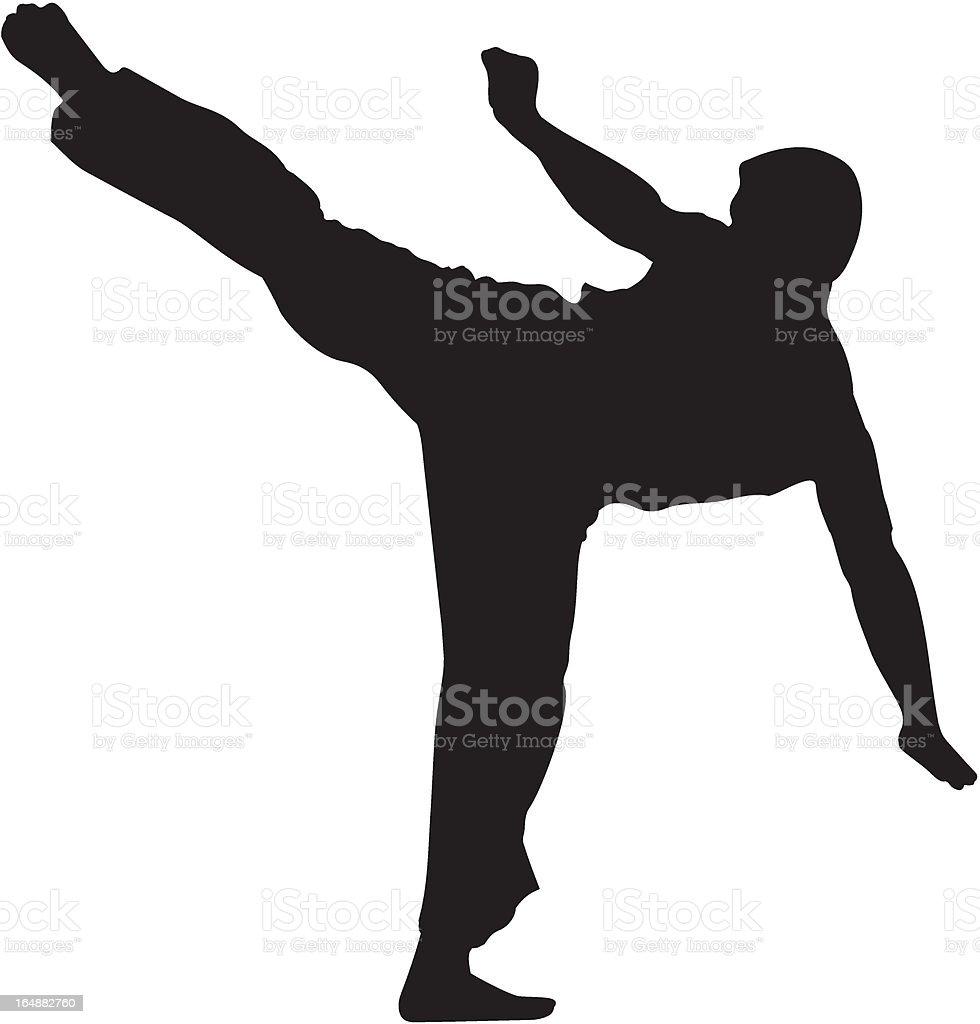 Karate fighter kicking #2 silhouette vector art illustration