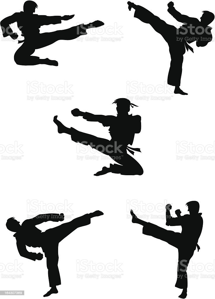 Karate fighters silhouettes vector art illustration