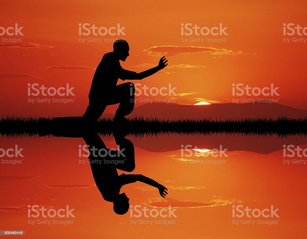 karate vector art illustration