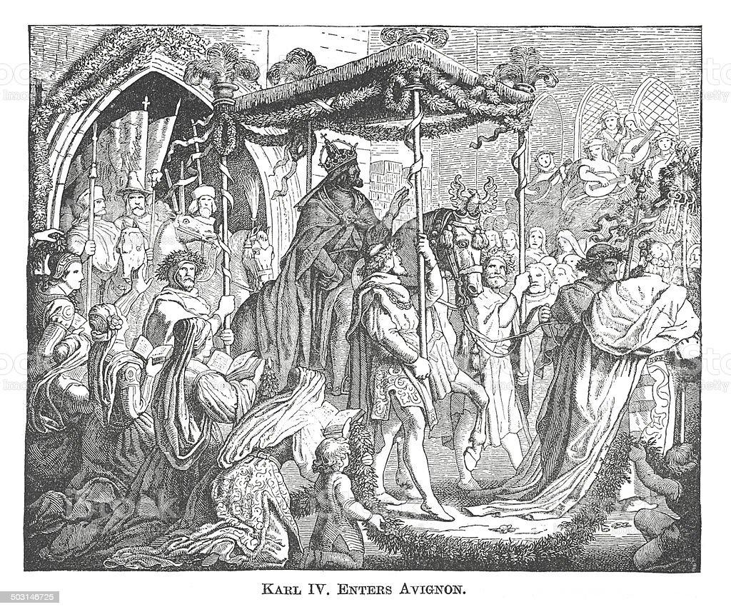Karl IV Enters Avignon (antique engraving) vector art illustration