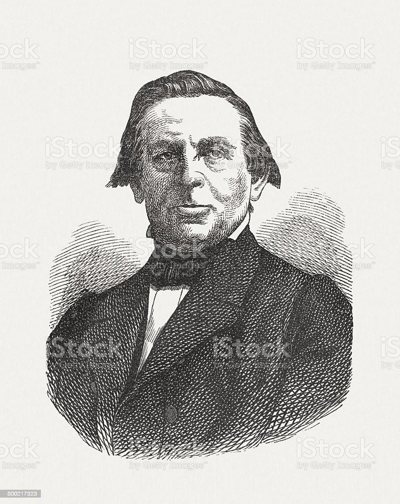 Karl Joseph Simrock (1802-1876), German poet, wood engraving, published 1871 royalty-free stock vector art