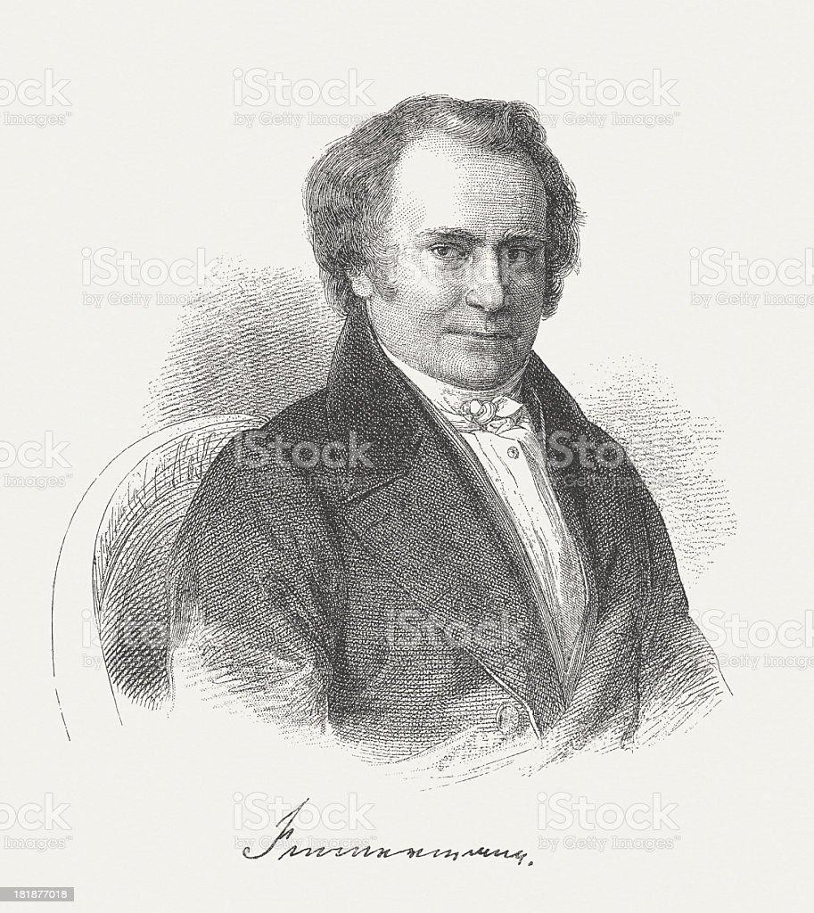 Karl Leberecht Immerman (1796-1840), German writer, wood engraving, published 1882 royalty-free stock vector art