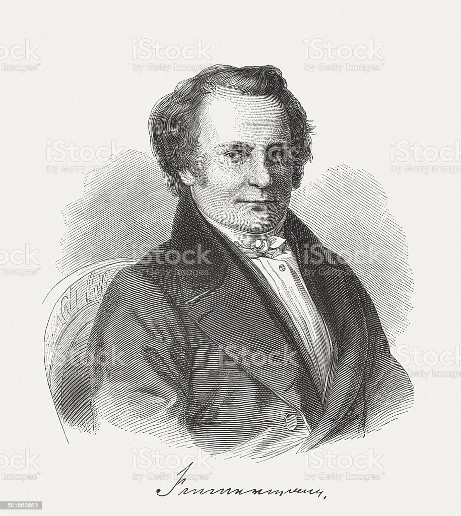 Karl Leberecht Immermann (1796-1840), German writer, wood engraving, published 1882 royalty-free stock vector art