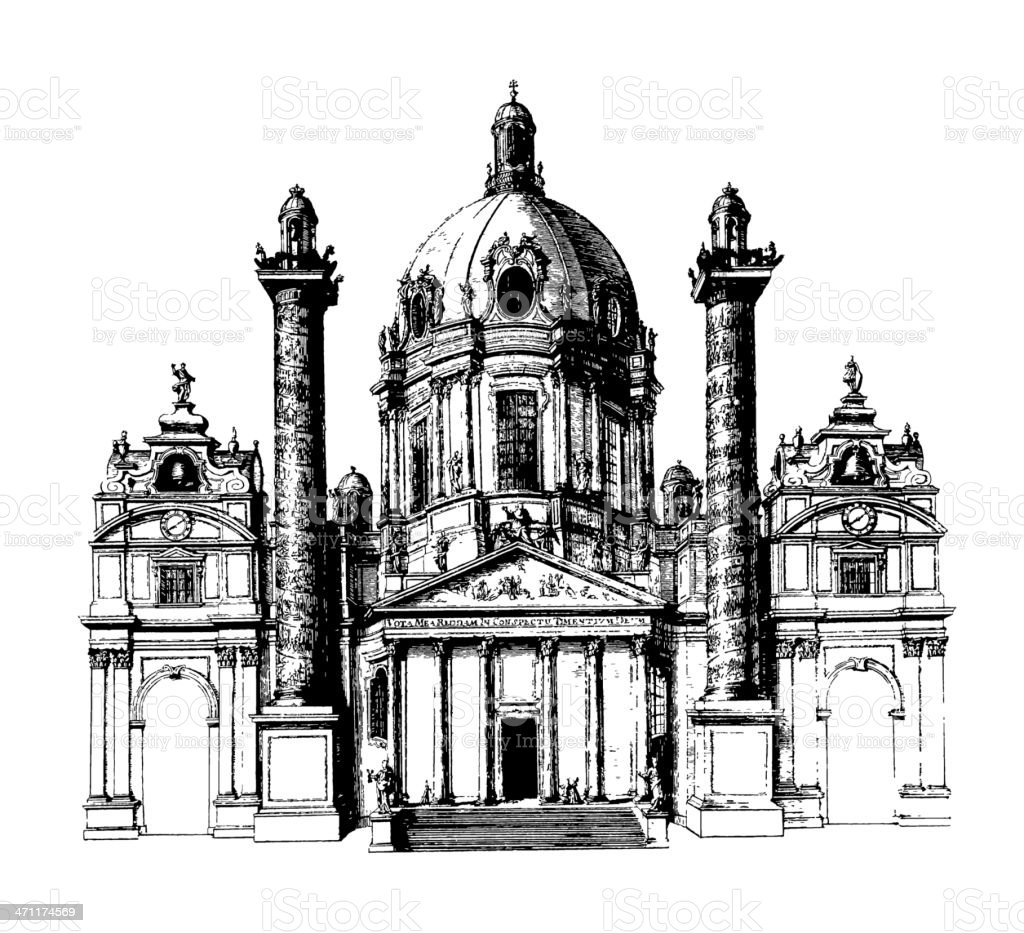 Karlskirche in Wien royalty-free stock vector art