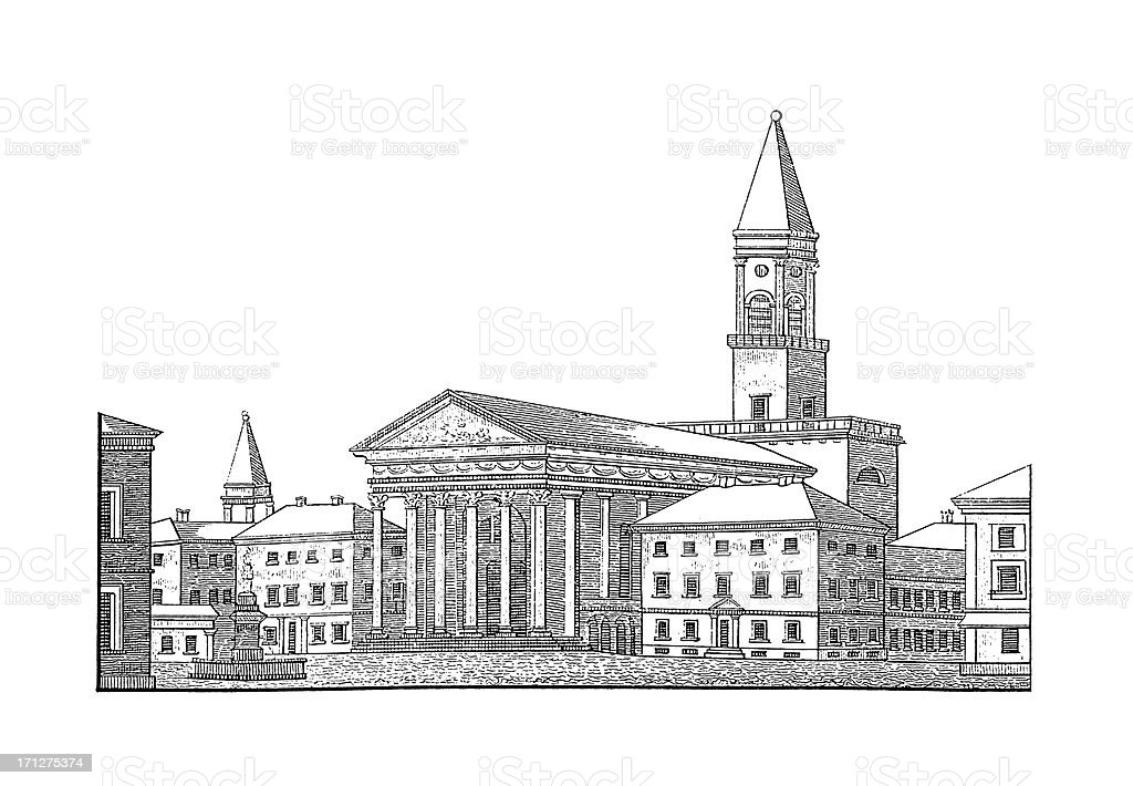 Karlsruhe Protestant Church, Germany | Antique Architectural Illustrations royalty-free stock vector art