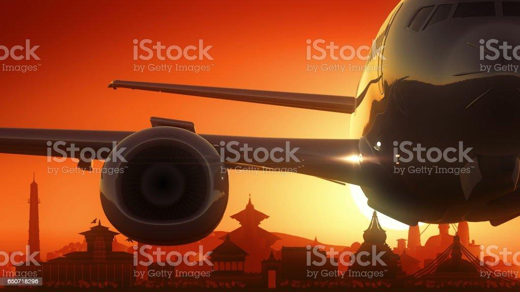 Kathmandu Airplane Take Off Skyline Golden Background vector art illustration