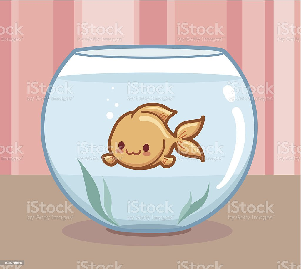 Kawaii Goldfish vector art illustration