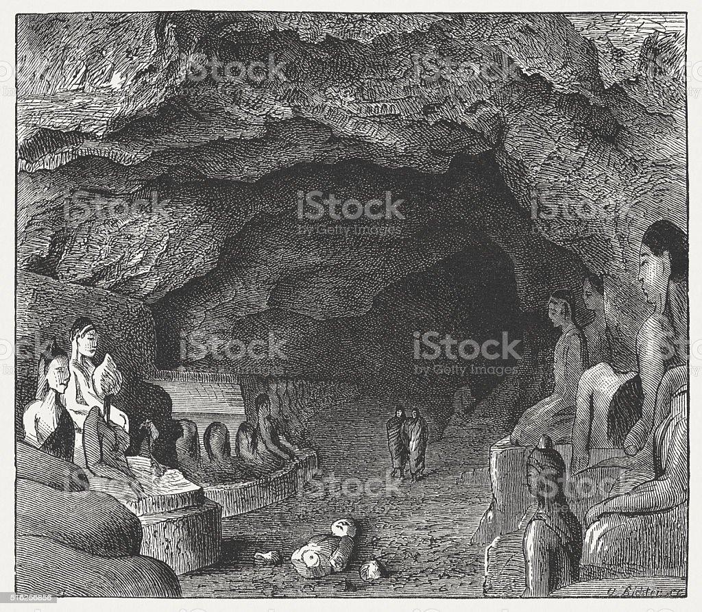 Kaw-goon Cave near Mawlamyine, Myanmar, wood engraving, published in 1873 vector art illustration