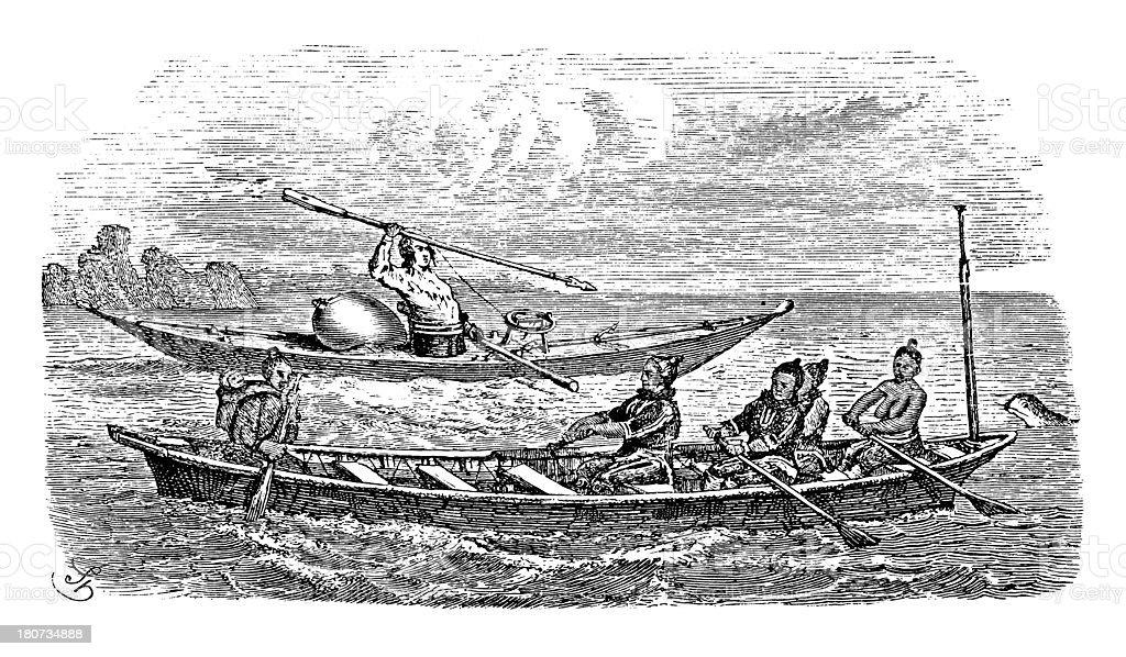 Kayak and boat near Greenland vector art illustration