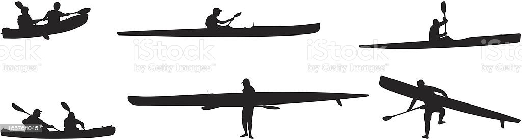 Kayaking and canoeing vector art illustration